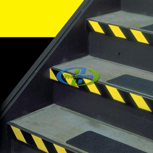 Лента светотраж. 50мм желто-черная полоса