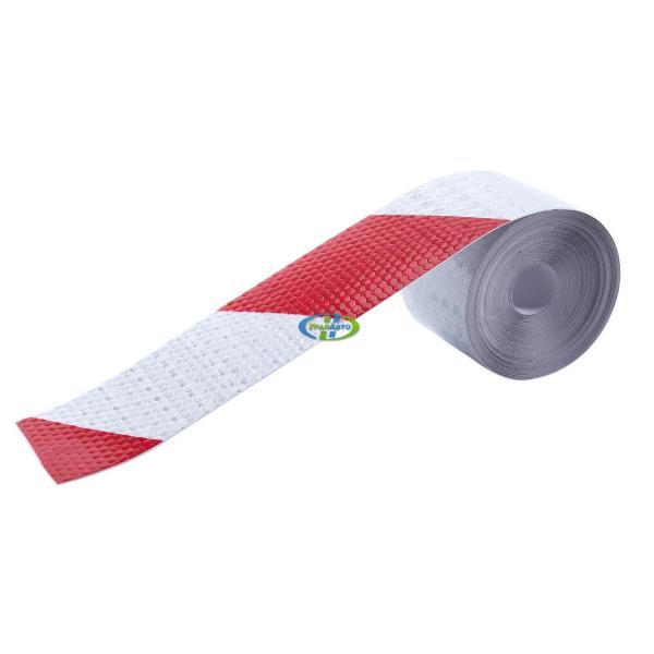 Лента светотраж. 50мм красно-белое полоса