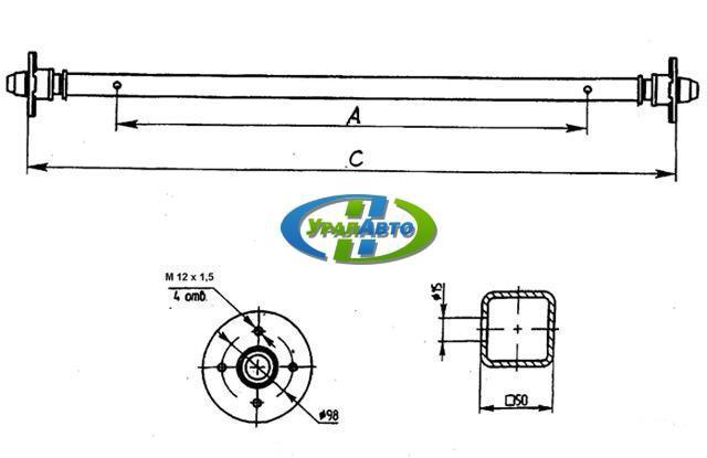 Ось прицепа рессорн 750кг а1220,с1570,98*4М12*1,5