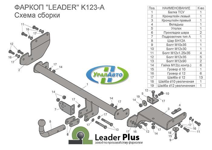 Фаркоп KIA Rio X-Line (2017-- ) K123-A Лидер Плюс