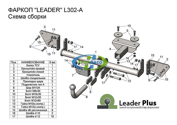 Фаркоп Lifan Х50 (2015-..) L302-A Лидер+