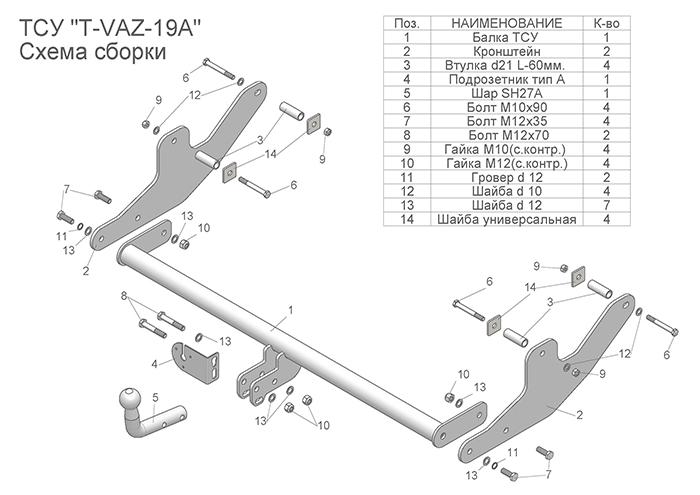Фаркоп Лада LARGUS 2012- (универсал) / LARGUS CROSS T-VAZ-19A Лидер Плюс